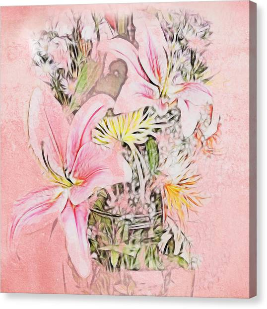 Spring Fowers With Vase Canvas Print