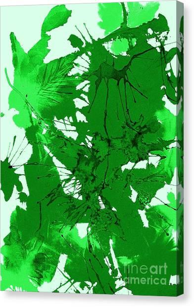 Splashy Art Canvas Print - Spring Green Explosion - Abstract by Ellen Levinson