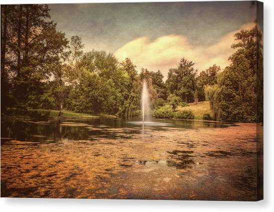 Cemetery Canvas Print - Spring Grove Water Feature by Tom Mc Nemar