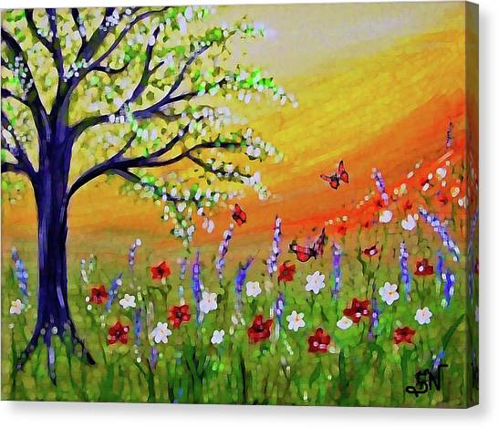 Canvas Print featuring the painting Spring Has Sprung by Sonya Nancy Capling-Bacle