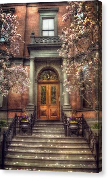 Spring In Boston - Boston Doorways Canvas Print