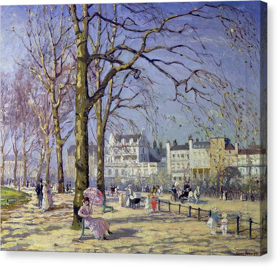 Spring Trees Canvas Print - Spring In Hyde Park by Alice Taite Fanner