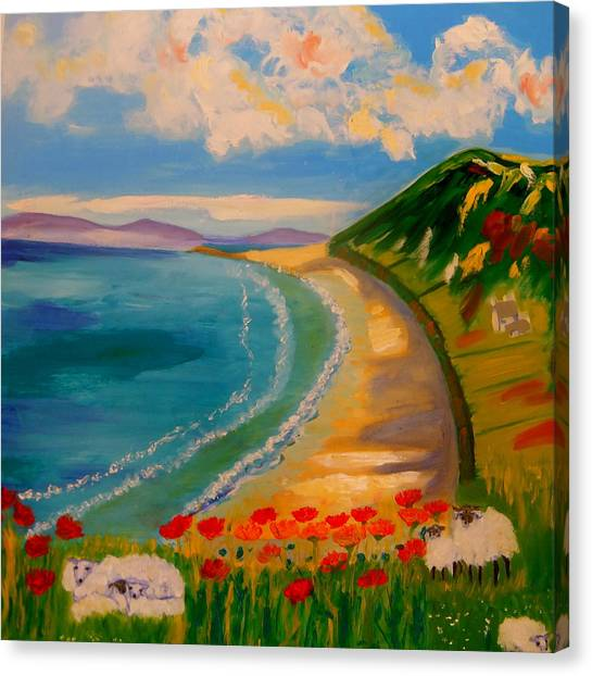 Spring Lambs At Rhossili Bay Canvas Print