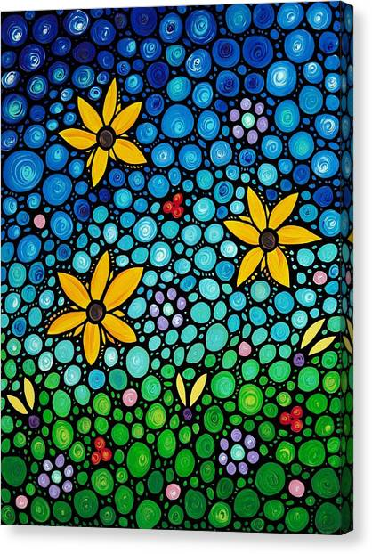 Abstract Flower Canvas Print - Spring Maidens by Sharon Cummings