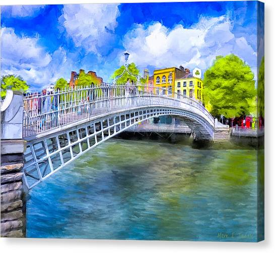 Canvas Print featuring the painting Spring On The Liffey - Historic Dublin by Mark E Tisdale
