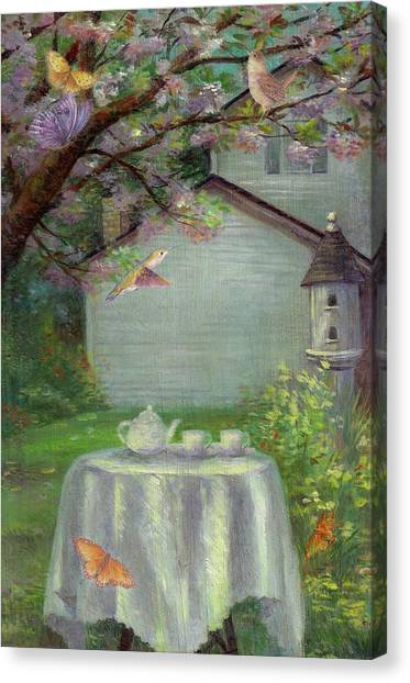 Canvas Print featuring the painting Spring Orchard Teatime by Judith Cheng