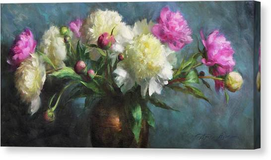 White Flower Canvas Print - Spring Peonies by Anna Rose Bain