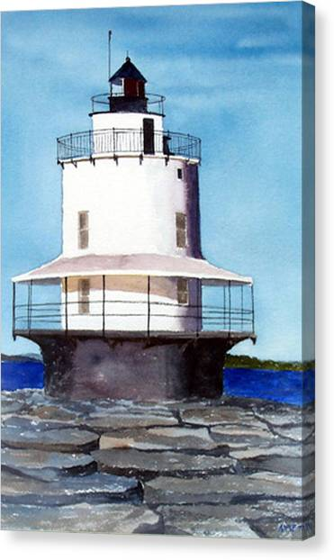 Spring Point Ledge Light Canvas Print by Anne Trotter Hodge