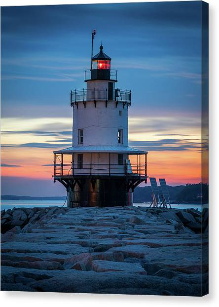 Spring Point Ledge Light Blue Hour II Canvas Print