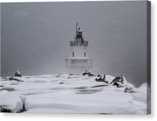 Spring Point Ledge Lighthouse Blizzard Canvas Print