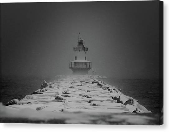 Spring Point Ledge Lighthouse Blizzard In Black N White Canvas Print
