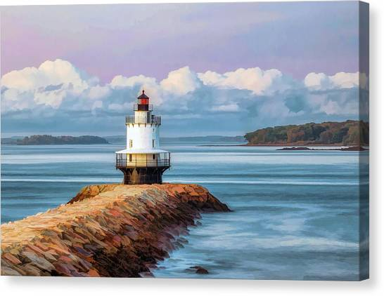 Canvas Print featuring the painting Spring Point Ledge Lighthouse by Christopher Arndt