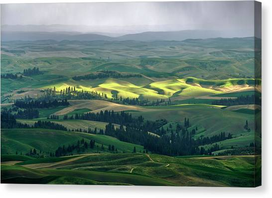 Spring Rain Falls On The Palouse Canvas Print by Jerry McCollum