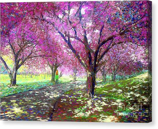 Park Scene Canvas Print - Spring Rhapsody, Happiness And Cherry Blossom Trees by Jane Small