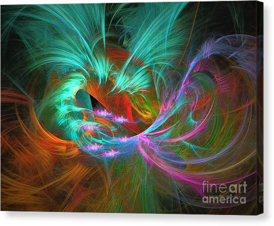 Canvas Print featuring the digital art Spring Riot by Sipo Liimatainen