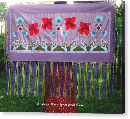 Canvas Print featuring the tapestry - textile Spring Rising by Chholing Taha