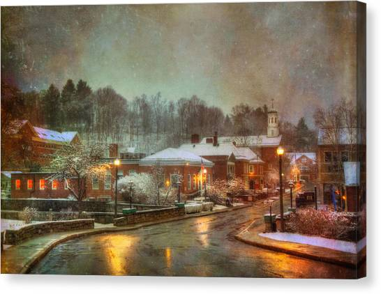 Spring Snow In Peterborough Nh Canvas Print by Joann Vitali