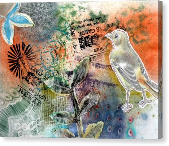 Canvas Print featuring the mixed media Spring Song by Rose Legge