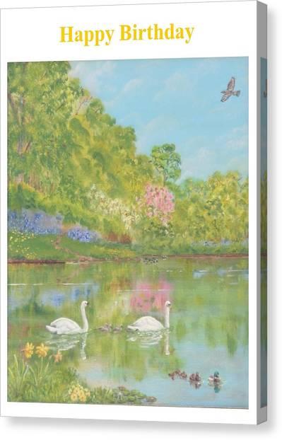 Spring Swans Birthday Canvas Print by David Capon