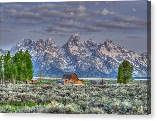Canvas Print featuring the photograph Spring Teton Barn  by David Armstrong