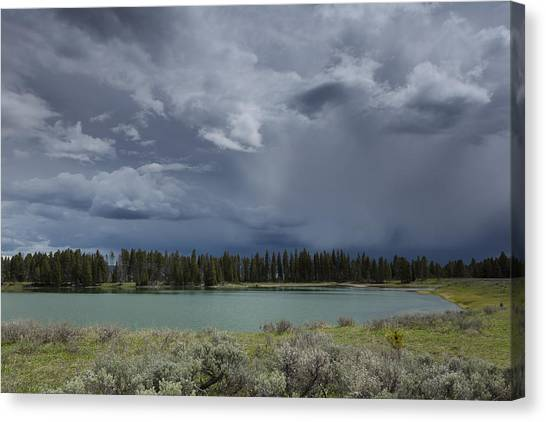 Spring Thunderstorm At Yellowstone Canvas Print