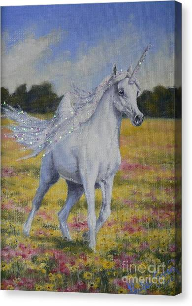 Spring Unicorn Canvas Print by Louise Green