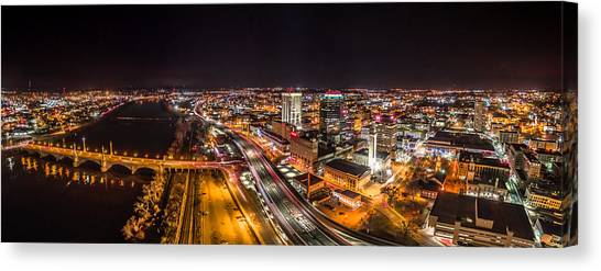 Springfield Massachusetts Night Long Exposure Panorama Canvas Print