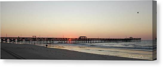 Springmaid Pier Sunrise Canvas Print