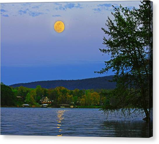 Spring's First Full Moon Smith Mountain Lake Canvas Print