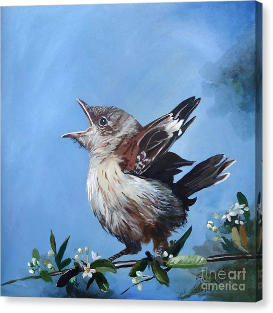 Mockingbird Canvas Print - Spring's Promise - Mockingbird Baby by Suzanne Schaefer