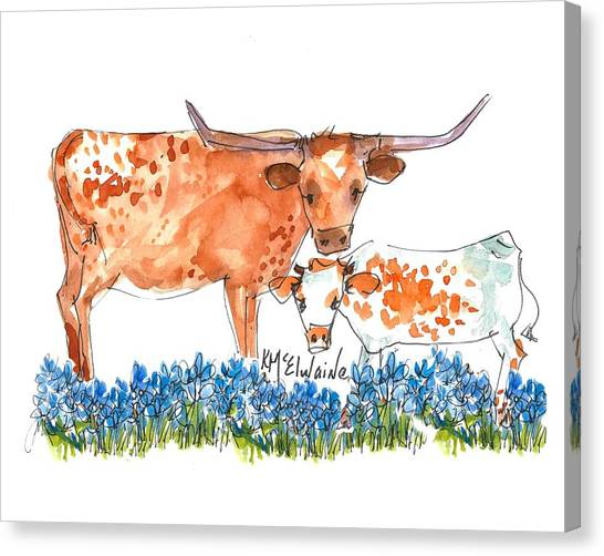 Cow Canvas Print - Springs Surprise Watercolor Painting By Kmcelwaine by Kathleen McElwaine