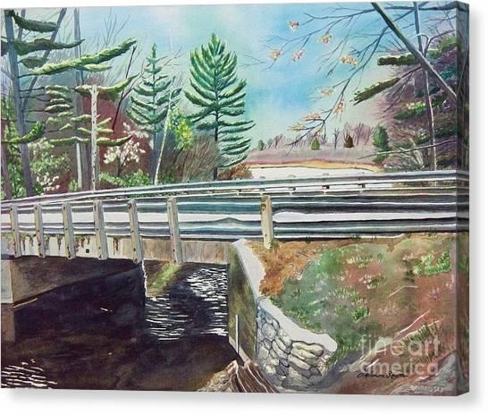 Springtime At Bass Lake Bridge Canvas Print
