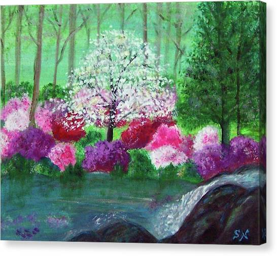 Canvas Print featuring the painting Springtime Azaleas In Georgia by Sonya Nancy Capling-Bacle