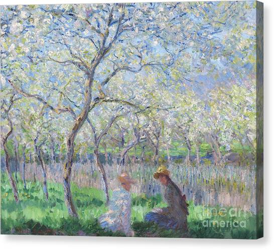 Blooming Tree Canvas Print - Springtime by Claude Monet