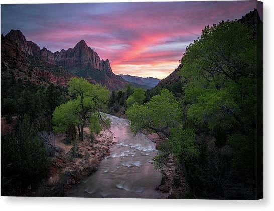 Springtime Sunset At Zion National Park Canvas Print
