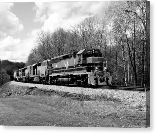 Sprintime Train In Black And White Canvas Print