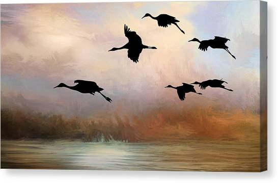 Squadron Of Sandhill Cranes, Bosque Del Apache, New Mexico Canvas Print