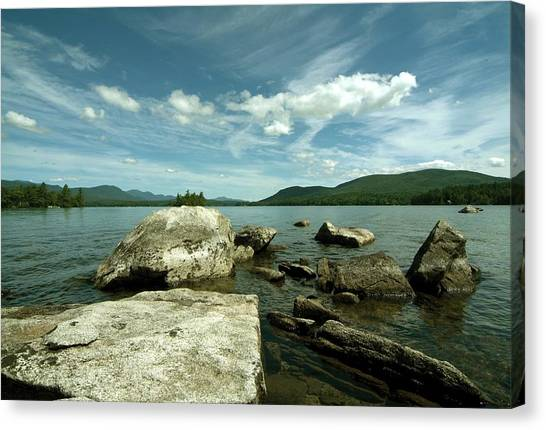 Squam Lake On The Rocks Canvas Print