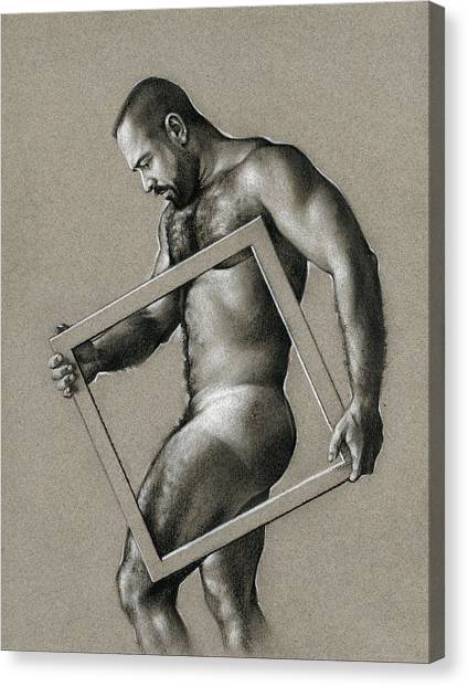 Male Nude Canvas Print - Square by Chris Lopez
