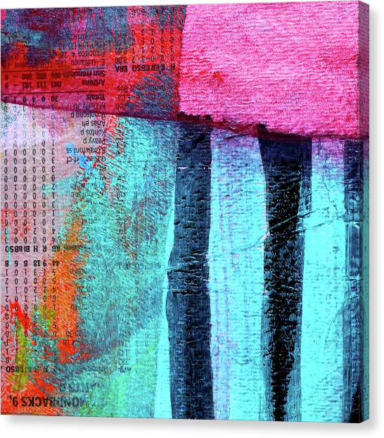 Torn Paper Collage Canvas Print - Square Collage No 4 by Nancy Merkle
