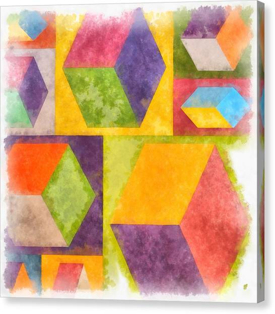 Yellow Canvas Print - Square Cubes Abstract by Edward Fielding
