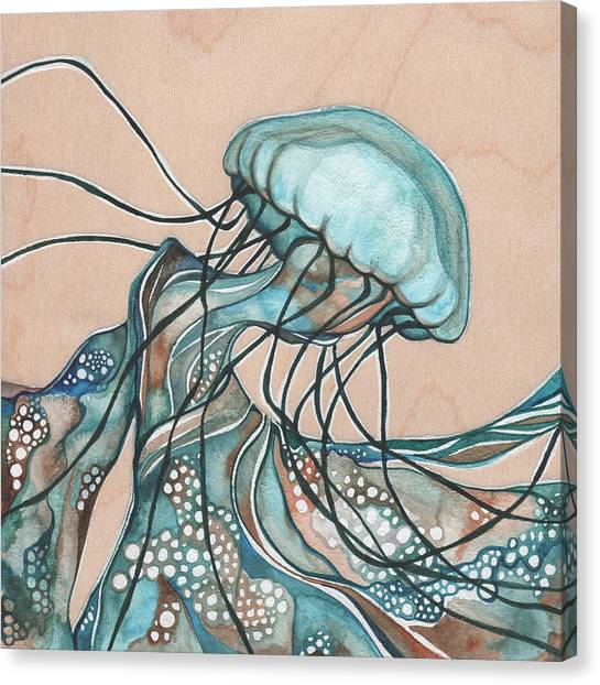 Organic Canvas Print - Square Lucid Jellyfish On Wood by Tamara Phillips