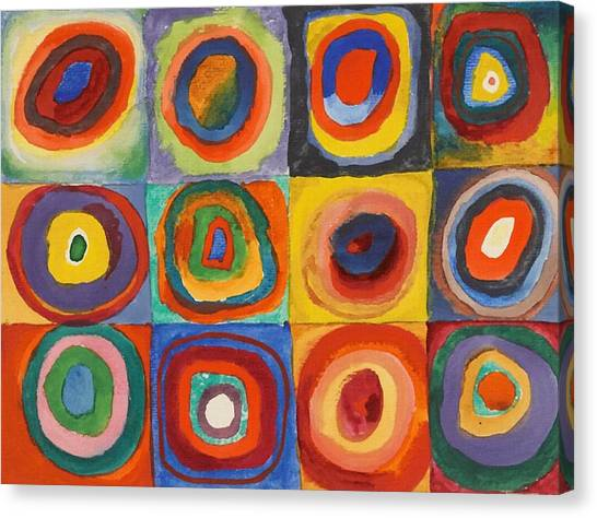 Squares With Concentric Circles Canvas Print