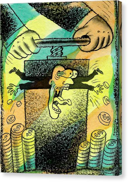Economics Canvas Print - Squeezing The Tax by Leon Zernitsky