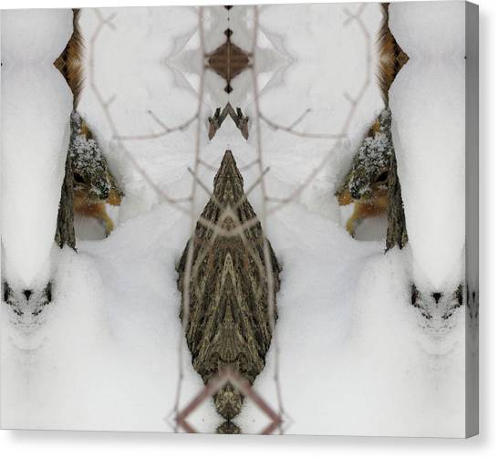 Squirrel Faces Peeking Out From A Snowy Den Canvas Print