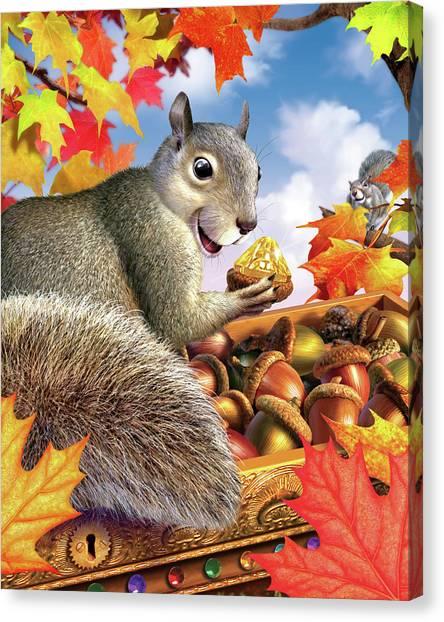 Squirrels Canvas Print - Squirrel Treasure by Jerry LoFaro