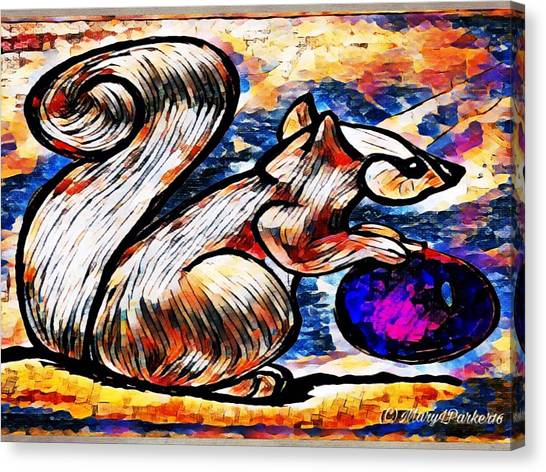 Squirrel With Christmas Ornament Canvas Print