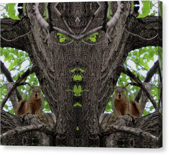 Squirrels Advising The Tiki God Canvas Print