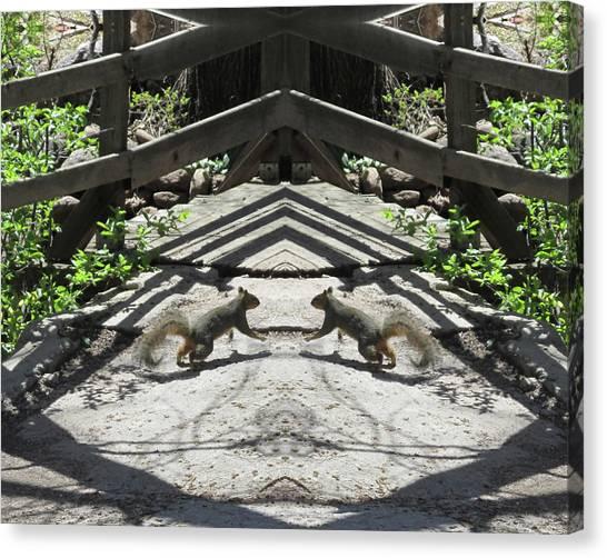 Squirrels Dancing On A Bridge Canvas Print