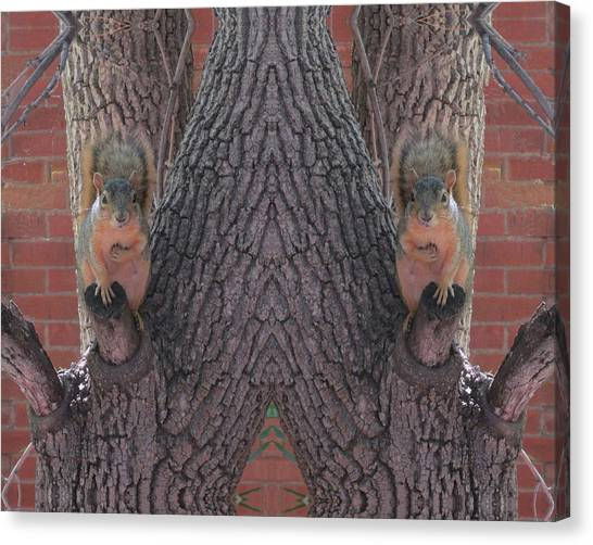 Squirrels In A Tree With Hands On Their Hearts Canvas Print